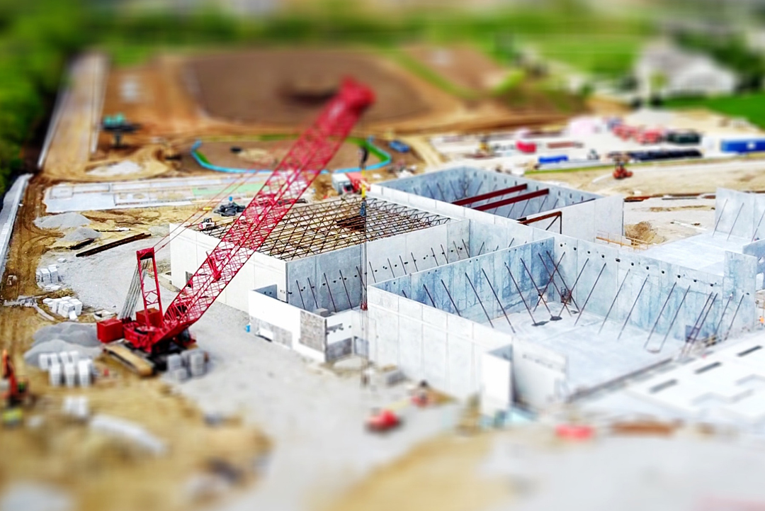 A concept image of a large-scale building site